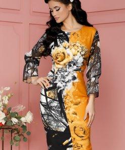 Rochie Casandra galben mustar cu imprimeuri florale si strasuri