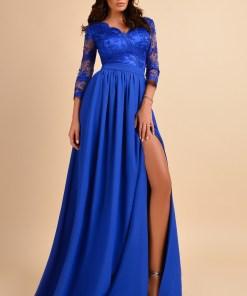 Rochie lunga albastra cu dantela la bust Rn 2111a