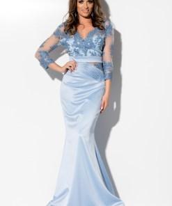 Rochie lunga bleu cu dantela la bust Rn 2281