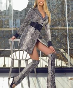 Rochie stil sacou in nuante de gri confectionata din piele ecologica