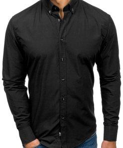 Cămașă elegantă cu mâneca lungă pentru bărbat neagră Bolf 5821-1
