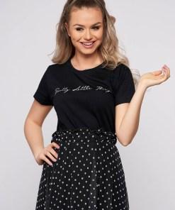 Tricou SunShine negru casual scurt din bumbac cu croi larg si imprimeu cu mesaje
