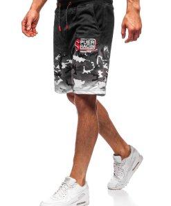 Pantaloni scurți de trening bărbați negri Bolf KK300151