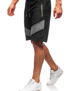 Pantaloni scurți de trening bărbați negri Bolf KS2515