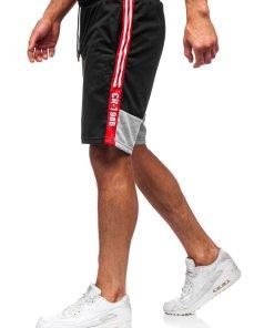 Pantaloni scurți de trening bărbați negri Bolf KS2501