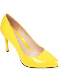 Pantofi EPICA galbeni, BH175, din piele naturala lacuita