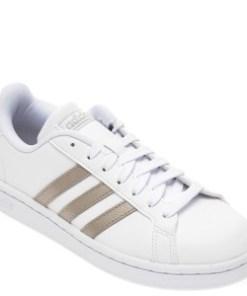 Pantofi sport ADIDAS albi, Grand Court, din piele naturala