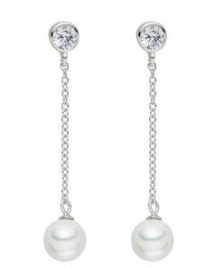 Cercei argintii cu perle si zirconia