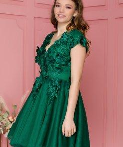 Rochie Lora verde cu broderie florala 3D