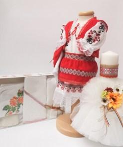 Set Traditional Botez Costumas fetita Trusou Lumanare 4