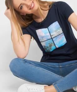 Tricou cu print și broderie Albastru