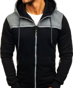 Bluză cu glugă și fermoar pentru bărbat neagră Bolf TC864