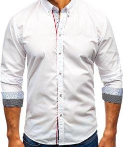 Cămașă elegantă cu mâneca lungă pentru bărbat albă Bolf 8839