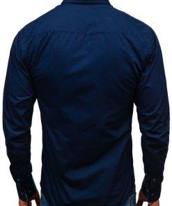 Cămașă elegantă cu mâneca lungă pentru bărbat bleumarin Bolf 8839