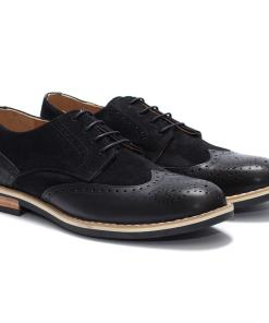 Pantofi barbati din piele naturala Eddie aspect brogue Negru