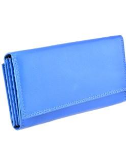 Portofel albastru, de dama, din piele naturala, GO-565-34