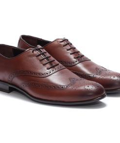 Pantofi barbati din piele naturala Thomas eleganti aspect brogue Maro