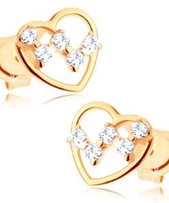 Cercei cu şurub din aur 14K - contur subţire de inimă, zirconii transparente