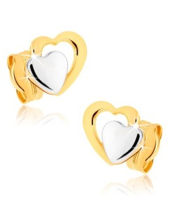 Cercei cu şurub din aur 9K - inimi simetrice în două culori, placaţi cu rodiu