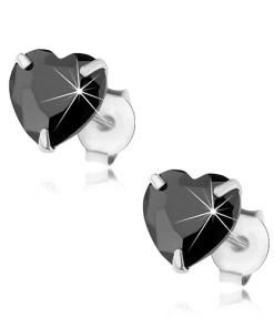 Cercei cu șuruburi, argint 925, inimă din zirconiu negru șlefuit