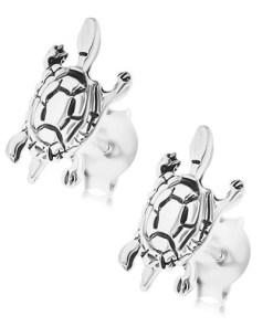 Cercei de argint 925, țestoasă cu patină, închizătoare cu șurub