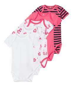 NAME IT Salopeta/Body roz / alb / negru