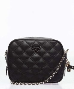 """GUESS Small quilted crossbody bag """"Cessily mini"""" Black"""
