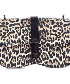 GUESS Shoulder bag with animal print Brown