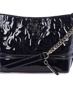GUESS Lacquered and quilted crossbody bag Black