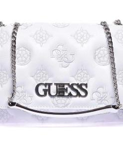 GUESS Shoulder bag with logo embroidery White