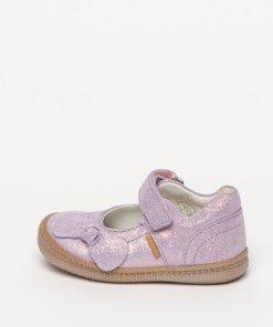 Pantofi Mary Jane din piele intoarsa cu aspect stralucitor 2602983