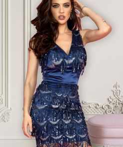 Rochie Atmosphere albastra cu paiete