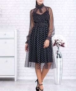 Rochie midi neagra din tulle cu imprimeu buline