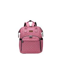 Rucsac pentru mamici, roz cu buline, Kono