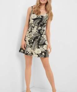 Rochie de viscoză cu flori Negru
