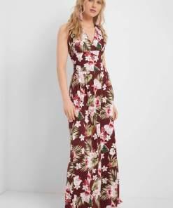 Rochie lungă cloș cu print paisley Ciocolatiu