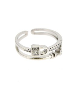 Inel reglabil lacat si cheita din Argint 925 decorat cu zirconiu alb