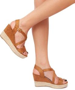Sandale dama Scottie cu panza de iuta pe platforma Maro