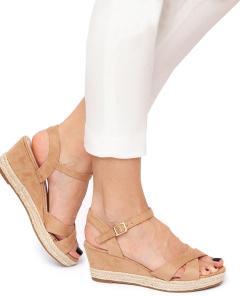 Sandale dama Sienna cu panza de iuta Bej