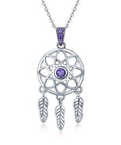 Colier din argint 925 Dream Catcher purple