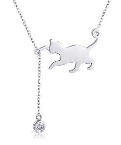 Colier din argint 925 Playful Silver Cat