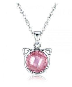 Colier din argint cu Pisica Roz