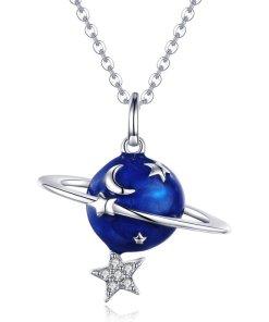 Colier din argint Silver Planet & Clear Star