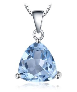Colier din argint Triangle Blue Topaz