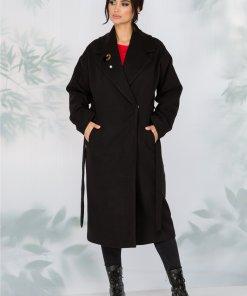 Palton LaDonna negru lejer cu cordon in talie detasabil