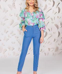 Pantaloni Pretty Girl office albastri cu nasturi tip perla