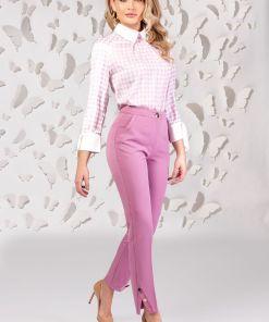 Pantaloni Pretty Girl office roz cu nasturi tip perla