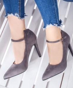 Pantofi dama cu toc gri eleganti Minisa