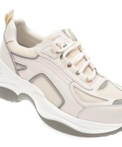 Pantofi sport FLAVIA PASSINI albi, 259, din material textil si piele naturala