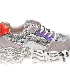 Pantofi sport FLAVIA PASSINI argintii L1138, din material textil si piele naturala